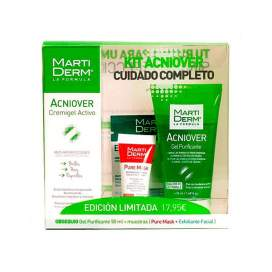 Martiderm Kit Acniover Cremigel 40ml + Gel Purificante 50Ml + Muestras (Pure Mask 5Ml + Exfoliante Facial 50Ml)